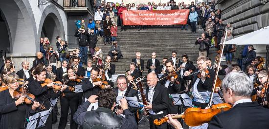 Protestaktion des Luzerner Sinfonieorchesters, © Thomas Plain