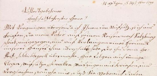 Brief (Auszug) von Maria Anna Mozart (verheiratete Freifrau von Berchtold zu Sonnenburg), © ISM