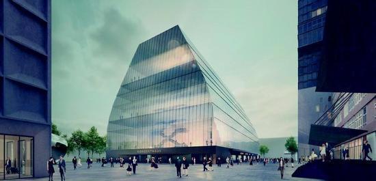 Entwurf Münchner Konzertsaal - Perspektive außen (Modell), © Hans-Joachim Wuthenow