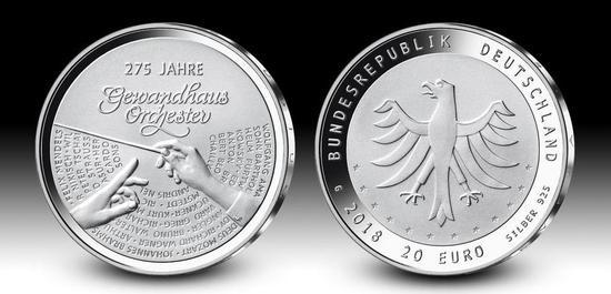 20 Euro Sammlermünze 275 Jahre Gewandhausorchester, © Hans-Jürgen Fuchs