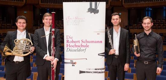 Hornist Bora Demir, Fagottist Marceau Lefèvre, Oboist Ilyes Boufadden und Hornist Pascal Deuber, © Susanne Diesner