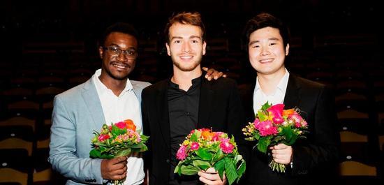Die Preisträger im Fach Klarinette 2019: Carlos Brito Ferreira, Joe Christophe, Han Kim, © Daniel Delang