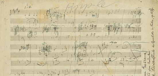 Skizzenblatt zum 4. Satz von Beethovens Streichquartett op. 127, © Auktionshaus Stargardt