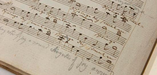 Dirigierpartitur der Jubelkantate mit  handschriftlichen Notizen, © SLUB Dresden, Ramona Ahlers-Bergner