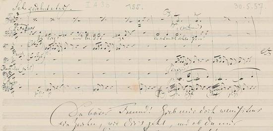 Notenblatt mit Brief, © Richard-Wagner-Stiftung Bayreuth